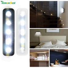 LemonBest Mini 5-LED Night Light Wireless Touch Switch Wall Lamp Battery Operated for Stairway Bathroom Bedside