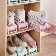 High Quality Adjustable PP Plastic Double Shoe Racks Sapato Living Room Convenient Shoebox Shoes Organizer Stand Shelf 7 Colors(China)
