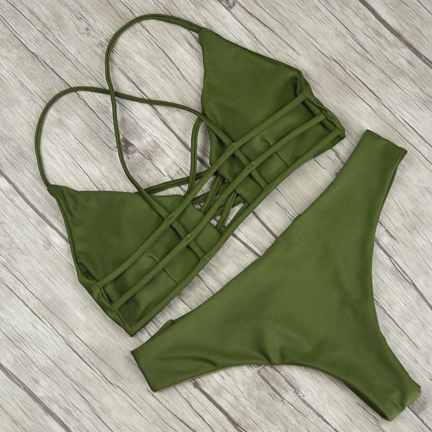 19 Women Bandage Thong Brazilian Bikinis Swimwear Female Sexy Green Bandeau Push up Swimsuit Bikini Set Beachwear Biquini 6
