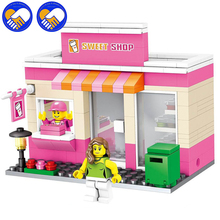 A Toy A Dream City Series Mini Street Model Store Shop with Mini Apple Store McDonald`s Building Block Toys Compatible