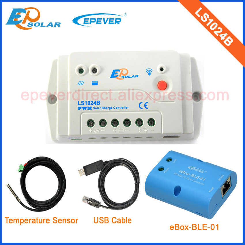 10A PWM EP solar new generation solar charge controller LS1024B 10amps Bluetooth communication function USB and temp cables<br>