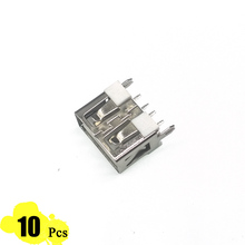 10Pcs/Lot Short body USB Port 2.0 Type A Female 4 Pin Insert 4 Foot 180 Flat Charge Plug Socket Jack Connector Wire Adapeter(China)