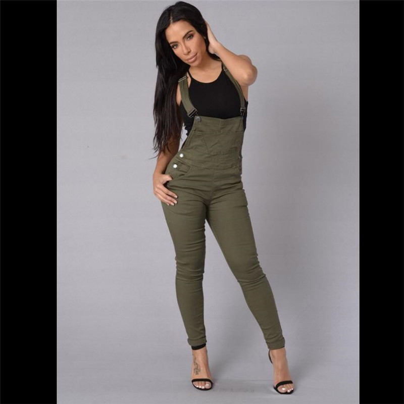fea6add16ef Detail Feedback Questions about Women Olive Green Denim Overalls ...