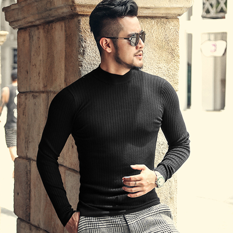 Male New Winter Slim Fit Casual High Neck Knitted Sweater Men England Style Woolen High Elasticed Black Textured Pullovers J780