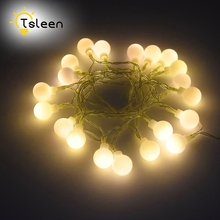 TSLEEN Hot Sale! 1PC 2M 20LED Round White Ball Lamp String Light 10M 70LEDS Wedding Party Christmas Decoration Light Fixtures(China)