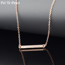 Fei Ye Paws Rose Gold Color Hippie Elegant Long Chain Bar Pendant Necklace Boho Chic Square Strip Neclace Women Men Jewelry(China)