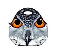 2014 New Owl face neoprene thermal portable hard disk bag women kids baby casual bags box tote waterproof food container(China)