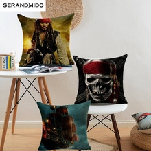 Famous Film Pirates of the Caribbean Cushion Cover Printed Jack Mermaid Pillows Home Decor Bedroom Sofa Chair Throw Pillow Cases(China)