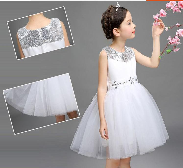 NICBUY New Girls Party Dresses Pure White Lace Beading Summer Princess Dress Girls Clothes For Wedding Children<br>