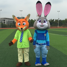 Adult Size Zootopia Cartoon Costume Zootropolis Judy Rabbit/Nick Fox Mascot Costume Walking Doll Clothing