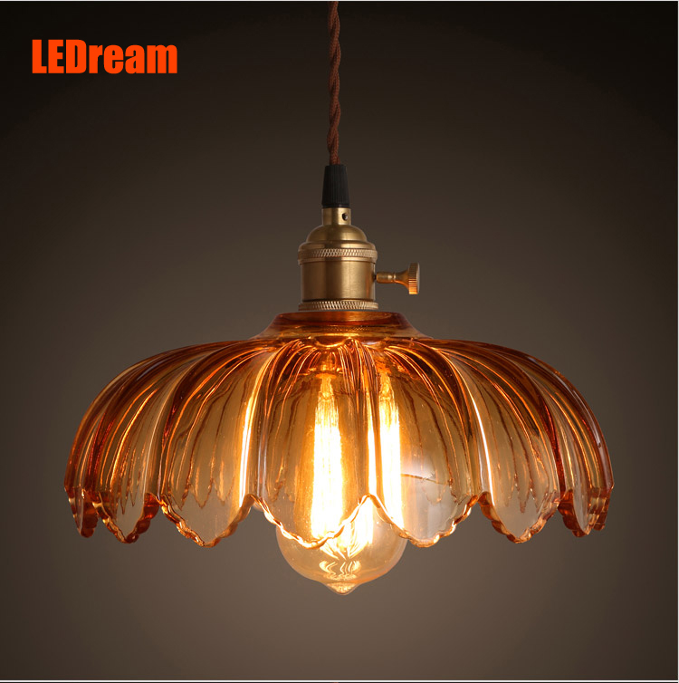 Retro loft restaurant bar counter single head creative cafe stair contracted transparent glass chimney droplight<br>