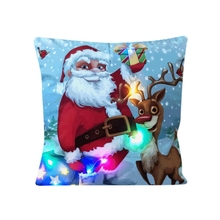 New Arrive 45*45cm Merry Christmas LED Light Up Glowing Santa Claus Red Cushion Cover Super Soft for Sofa Chair Pillow Case