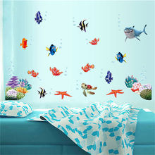 1pcs Hot Removable Wall Stickers Sea Fish Carton Bathroom Nursery Home Decor Decals PVC Kids Living Room Fun Wall Sticker(China)