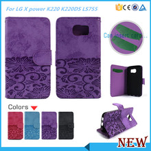 PU Leather Wallet Style Card Holder Flip Cover Case For LG X power K220 Boost Mobile