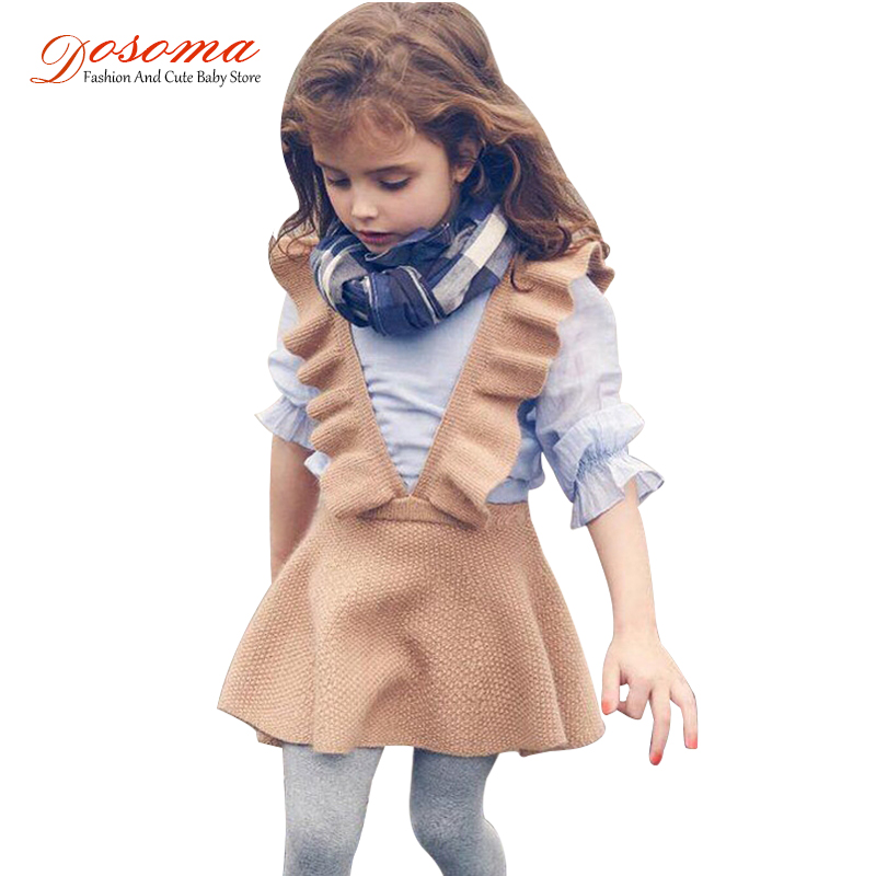 Dosoma autumn baby girls dress fashion girl clothing knit sweater kids dresses for girls solid sleeveless school uniform vestido(China)
