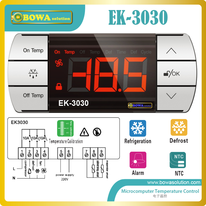 Touch control microcomputer themostat measure, display temperature with forced defrost, for coolant cabinets, kitchen cabinets<br>