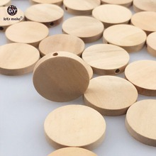 Let's Make Natural Flat Wood Round beads 100pcs 20mm unfinished DIY  wood chips Circles Wood Discs Wooden Tags Labels