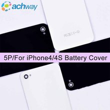 5pcs/lot AAA+Quality Glass Case Battery Door for Apple iPhone 4 4S Back Housing Rear Cover Repair Parts +Tools White/Black(China)
