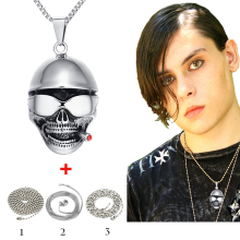 Vintange Stainless Steel Skull Pendant Necklace Retro Smaoking Skeleton Chain Necklace For Men Party Gift