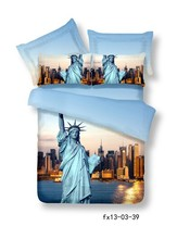 3D Light blue The statue of liberty US bedding  sets queen size bedspread duvet cover brand bed in a bag sheets 100% cotton