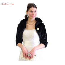Evening Fur Boleros Bridal Black 3/4 Long Sleeves Faux Fur Bridal Wraps Jackets Wedding Capes Wedding Accessories