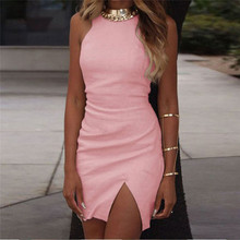 Buy 2017 Pink Dress Women Bodycon O Neck Sleeveless Tank Dress Black Red Party Evening Elegant sexy Summer Dress Vestidos for $6.72 in AliExpress store