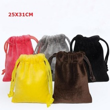 Top Quality 25x31 cm Christmas Valentines Soft Large Big Size Makeup Jewelry Packing Bag Drawstring Velvet Gift Bag Pouch(China)