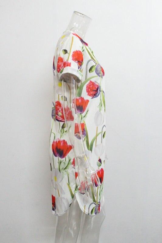2018 Spring Summer Printed Women Dress O-Neck Hem Side Split Ladies Dresses Tie Sashes Short Sleeve Casual Sexy Female Vestidos 14