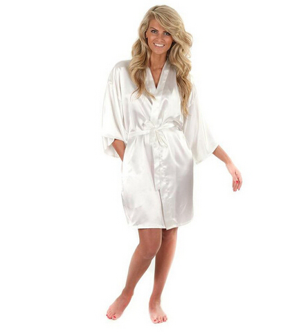 Women Silk Satin Short Night Robe Solid Kimono Robe Fashion Bath Robe Sexy Bathrobe Peignoir Femme Wedding Bride Bridesmaid Robe(China)