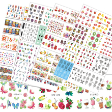 58Sheets Nail Art Water Transfer Stickers Mixed Water Decals Fruit Cake Flower Necklace Pattern Nail Stickers Decor LASTZ455-512(China)