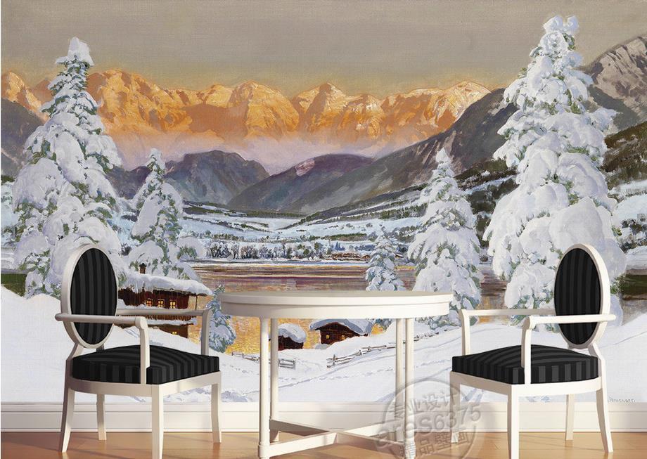 custom 3d murals wallpaper Snow Snow Mountain Pine Non-woven 3d wallpaper walls Living room TV backdrop kitchen wallpaper-3d<br><br>Aliexpress