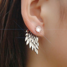 E101 New Fashion Brincos Love Crystal Angel Wing Double Side Rhinestone Gothic Feather Crystal Stud Earrings For Women Jewelry