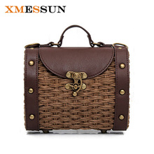 XMESSUN 2017 Bohemian Straw Bags for Women Small Beach Handbags Summer Vintage Rattan Bag Handmade Kintted Crossbody Bag C67(China)
