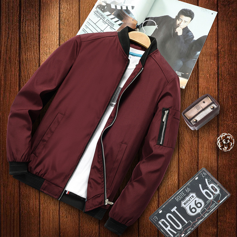 Fashion Jacket Baseball-Collar Hip-Hop Print Men's Casual Smooth Loose title=