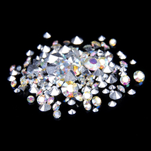 For 3D Nails Art Decoration Round Shape Design 1000pcs Crystal/Crystal AB Mixed Size Glitter Point Back Resin Rhinestones Stone
