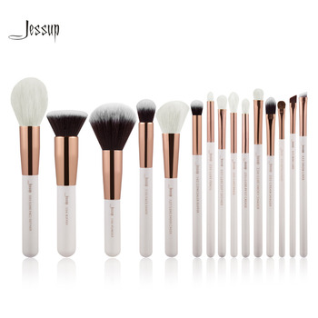 Jessup Perle Blanc/Rose Or Professionnel Maquillage Pinceaux Make up Brush Outils kit Fondation Poudre Definer Shader Liner