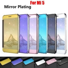 Cheap Best Plating Clear View Hard PC Flip Filp Mirror Miror Phone Fundas Etui Case shell For Xiaomi Mi 5 Blue Gold Black Rose