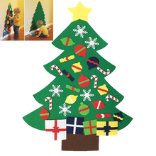 Funny Kids DIY Felt Christmas Tree Set with Ornaments Children Gift Door Wall Hanging Xmas Decoration Preschool Toddler Craft