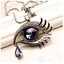 New Magic Teardrop Collier Bijoux Vintage evil eye Necklace & Pendants Angel Tears Austrian Crystal Necklace Collar Long Chain