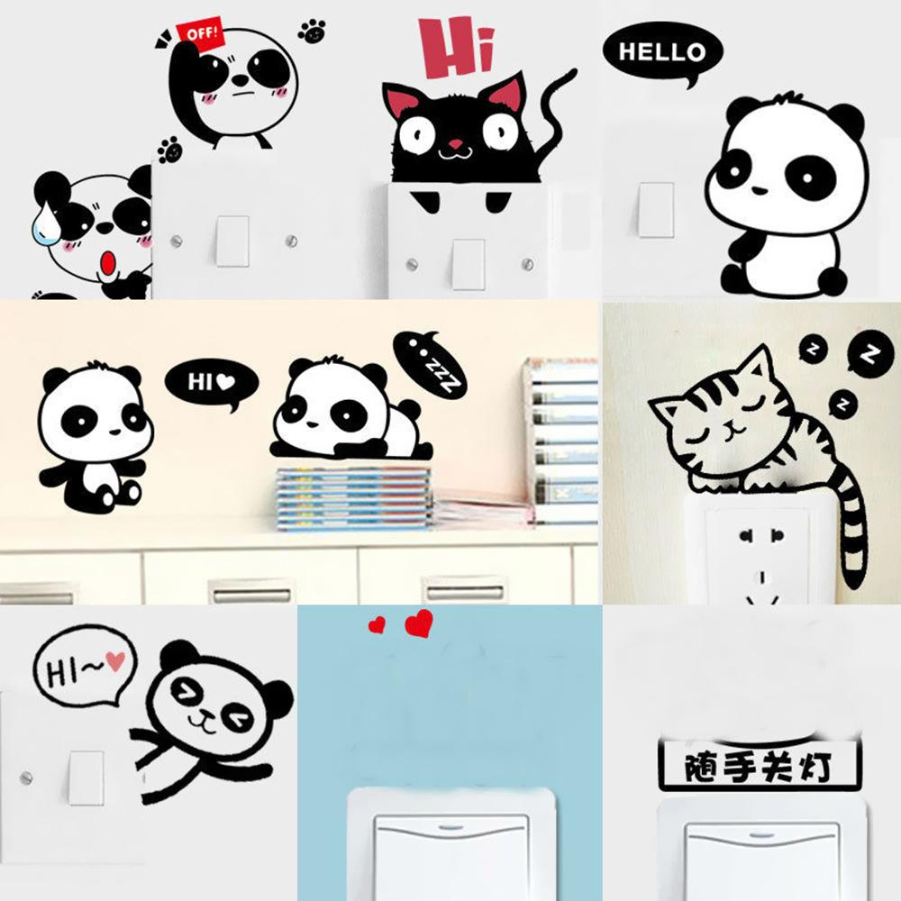 HTB1zwC0ftHO8KJjSZFtq6AhfXXai - DIY Cute Cat Panda Switch Sticker