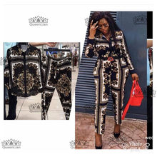 2019 new Fahsion(L-XXXXL)African Clothes For Lady Dashiki Top and Pants Suit Chiffon Dress XFTZ03#(China)