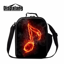 Dispalang Personal Lunch Bags Pattern Musical Note Printed Cooler Bags for Children Small Handbag Lunch box Bag for Girls School