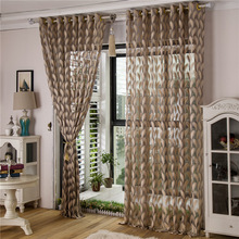 Feather jacquard curtain luxury tulle panel sheer fabrics custom made ready made living room bedroom modern curtains