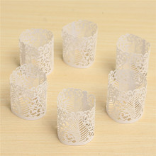 KWarm 6PCS Paper Laser Cut Flower Floral LED Tea Light Holders Lampshade Candle Lamp Christmas Wedding Party Table Home Decor(China)