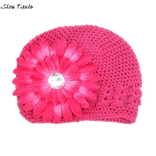 Baby Hats Handmade Toddlers Infant Hollow Out Wool Knitting Hat Big Flower Newborn Photography Props Touca Infantil(China)