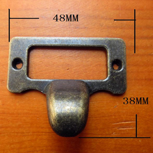 48x38mm Antique Brass Drawer Label Pull Frame File Cabinet Handles Name Card Holder(China)