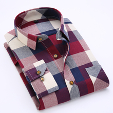 Men's Long Sleeve Contrast Bold Plaid Brushed Shirt with Left Chest Pocket Slim-fit Comfortable Soft Work Casual Flannel Shirts(China)