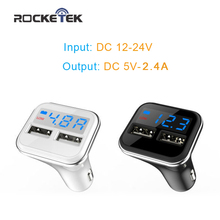 Rocketek intelligent Car Charger LED current display 2 USB output 4.8A charging Mobile Phone Travel Adapter Car-Charger(China)