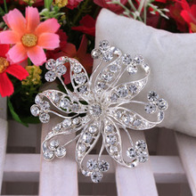 Flower Silver Plated Brooch Rhinestone Brooches For Female Pins Lapel Pin Women Wedding Scarf Clip Collar Tips Hijab Pin