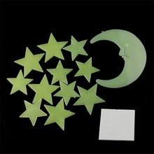 RA9 2017 KAKUDER New Moon Stars Color Glow In The Dark Luminous Fluorescent Stickers Decal levert dropship 2jun26(China)